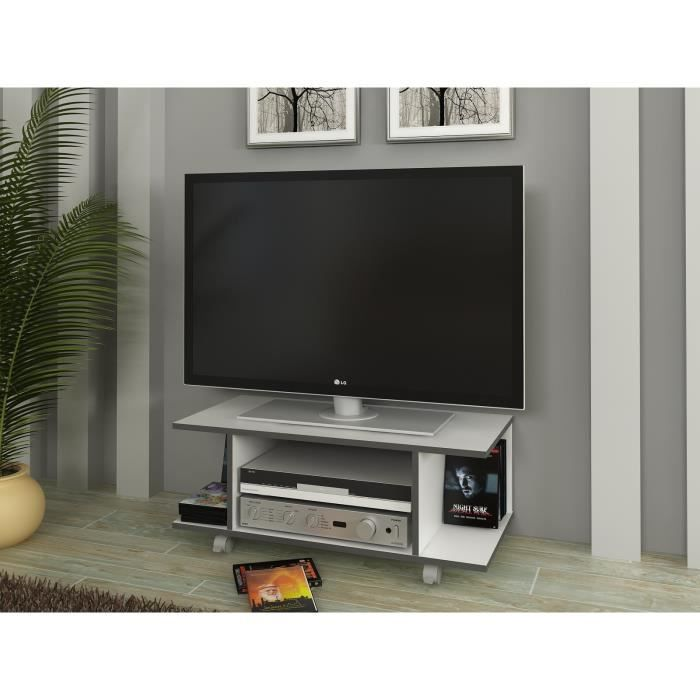 hardy meuble tv blanc et gris 80 cm achat vente meuble tv hardy meuble tv blanc panneaux de. Black Bedroom Furniture Sets. Home Design Ideas