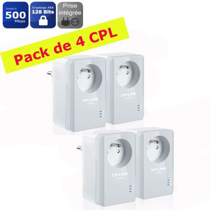 tp link 2 kit de 2 cpl 500mbps prises int gr es achat vente courant porteur cpl tp link. Black Bedroom Furniture Sets. Home Design Ideas