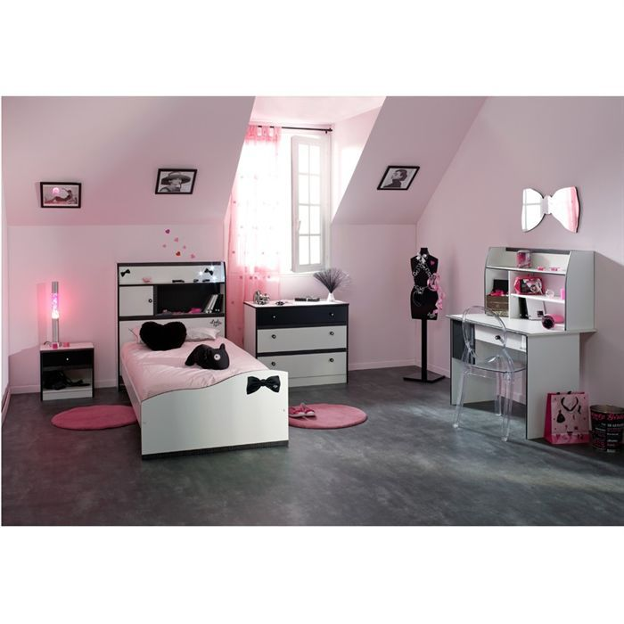 pretty chambre compl te enfant 90x190 blanc noir achat vente chambre compl te pretty chambre. Black Bedroom Furniture Sets. Home Design Ideas