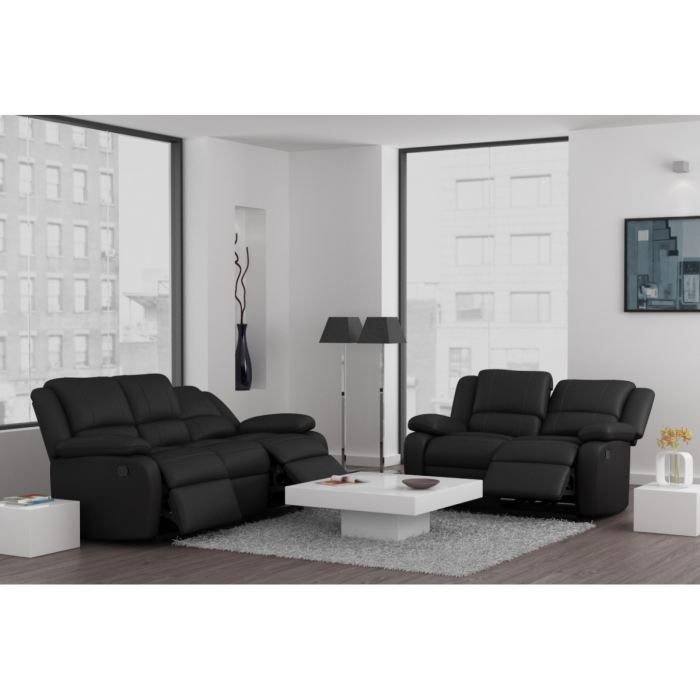 Relax ensemble canap s de relaxation droits en cuir et simili 3 2 places - Canape relax cuir 2 places ...