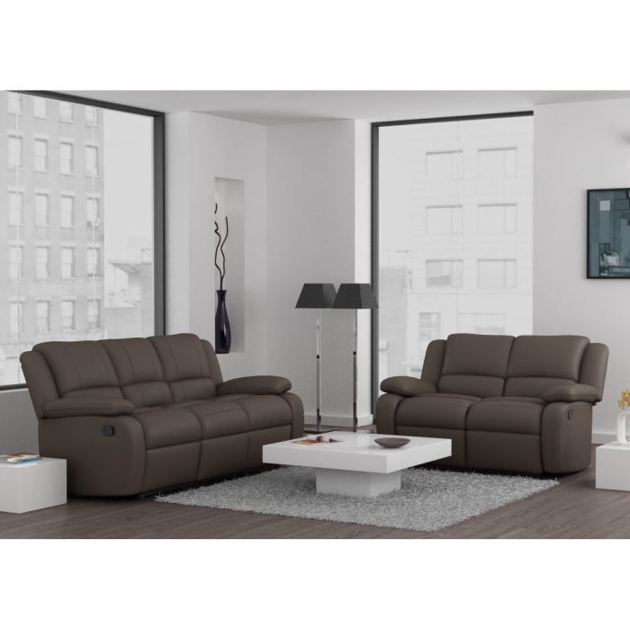 relax ensemble canap s 3 places 2 places relaxation pu cuir taupe achat vente canap. Black Bedroom Furniture Sets. Home Design Ideas
