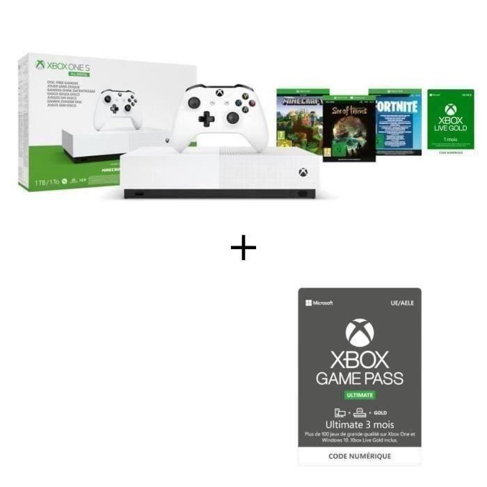 CONSOLE XBOX Xbox One S All Digital + 3 jeux dématérialisés : F