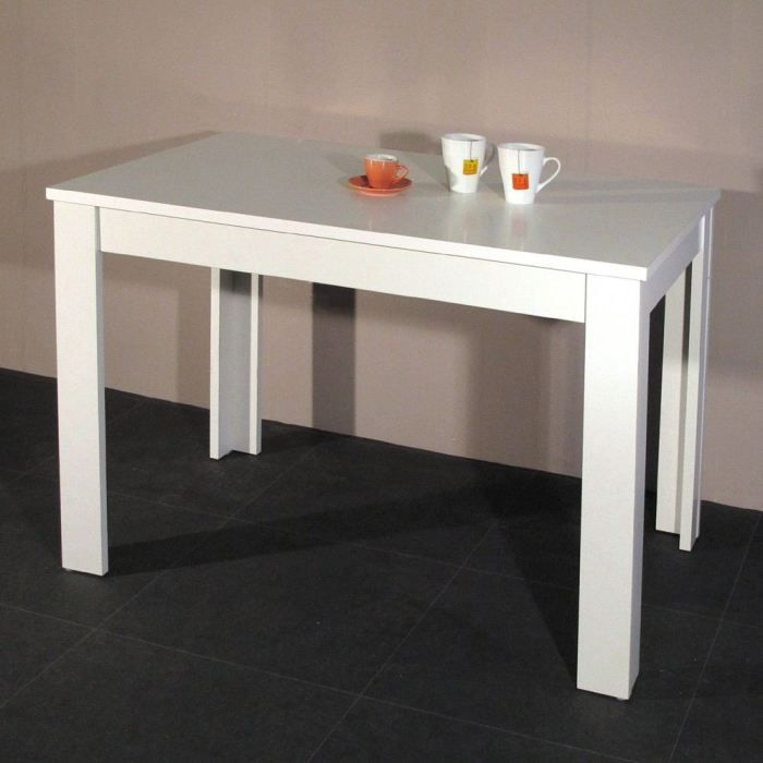 Pepper table de cuisine 110x70cm blanche achat vente for Table de cuisine kreabel