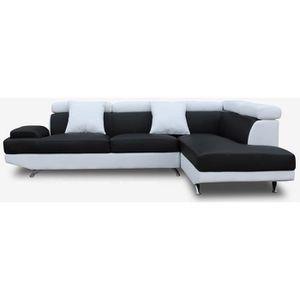 CANAPÉ - SOFA - DIVAN SCOOP Canapé d'angle droit 4 places - Simili noir