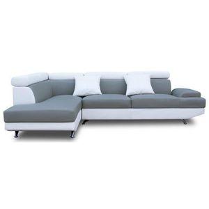 CANAPÉ - SOFA - DIVAN SCOOP Canapé d'angle gauche 4 places - Simili gris