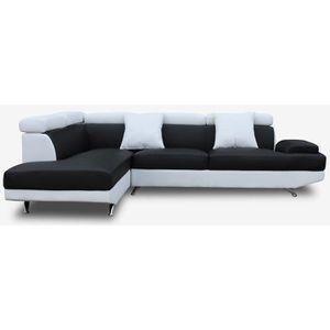 CANAPÉ - SOFA - DIVAN SCOOP Canapé d'angle gauche 4 places - Simili noir