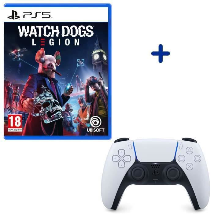Pack PlayStation : Manette DualSense Blanche White + Watch Dogs Legion