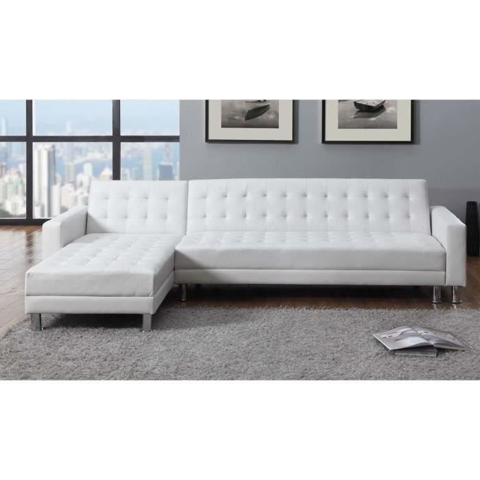 washington canap convertible lit angle r versible 4 places blanc achat vente canap sofa. Black Bedroom Furniture Sets. Home Design Ideas