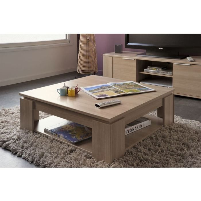 Chivas table basse carr e 89 cm coloris bruges achat vente table basse ch - Table basse carree en bois ...