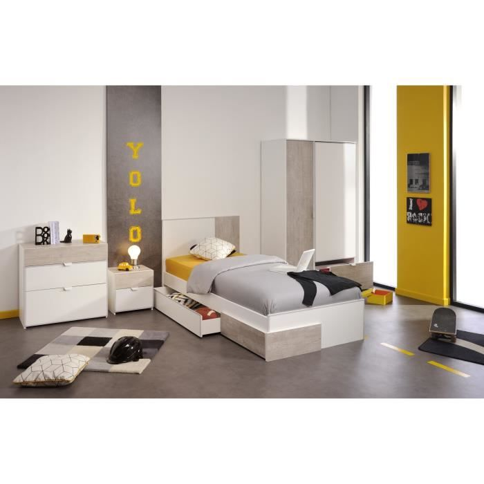 yoni chambre compl te enfant style contemporain blanc et. Black Bedroom Furniture Sets. Home Design Ideas