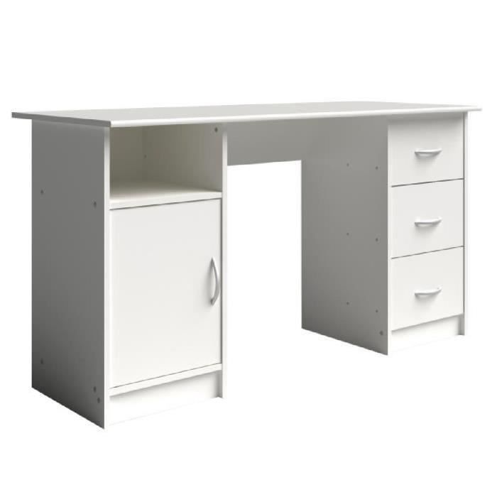 essentielle bureau 135 cm blanc achat vente bureau essentielle bureau 135cm blanc soldes. Black Bedroom Furniture Sets. Home Design Ideas
