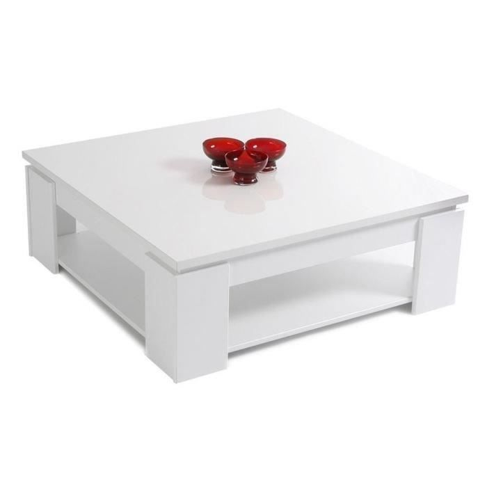 street table basse carr e blanc brillant 89x89cm achat vente table basse street table basse. Black Bedroom Furniture Sets. Home Design Ideas