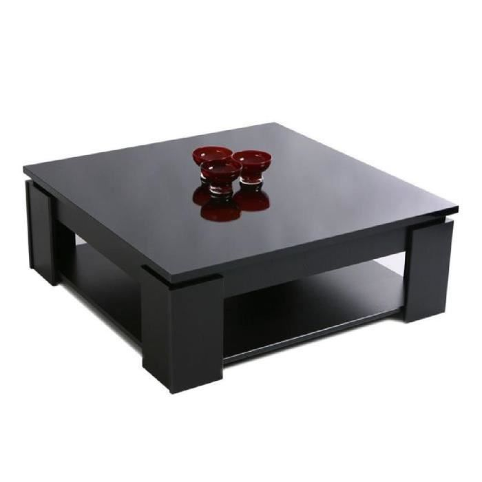 Strass table basse carr e noir brillant 89x89cm achat vente table basse s - Table basse carree noire laquee ...