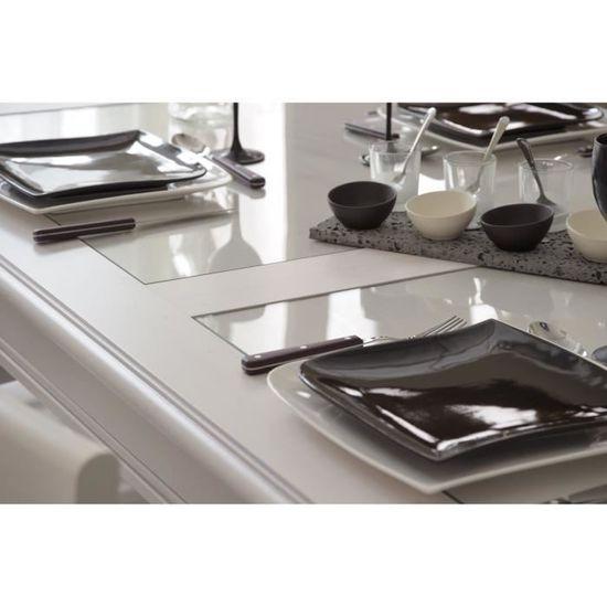 BOHEME Table extensible de 6 à 10 personnes classique + Plateau en verre -  Décor pin memphis - L 170 - 250 cm