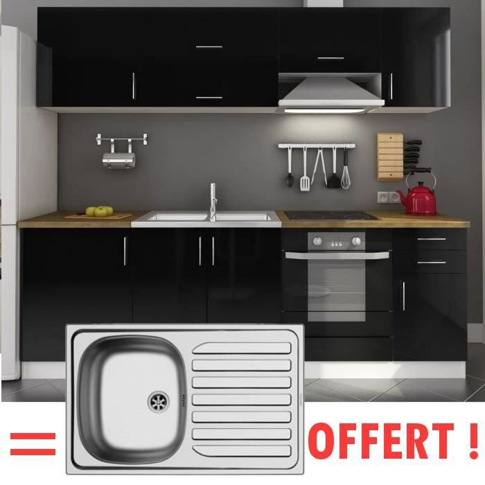 arty cuisine compl te 2m40 vier offert laqu noir achat vente cuisine compl te arty. Black Bedroom Furniture Sets. Home Design Ideas
