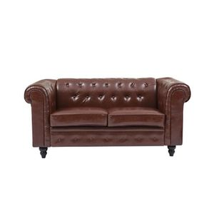 CANAPÉ - SOFA - DIVAN EDGAR Canapé Chesterfield droit fixe 2 places - PU