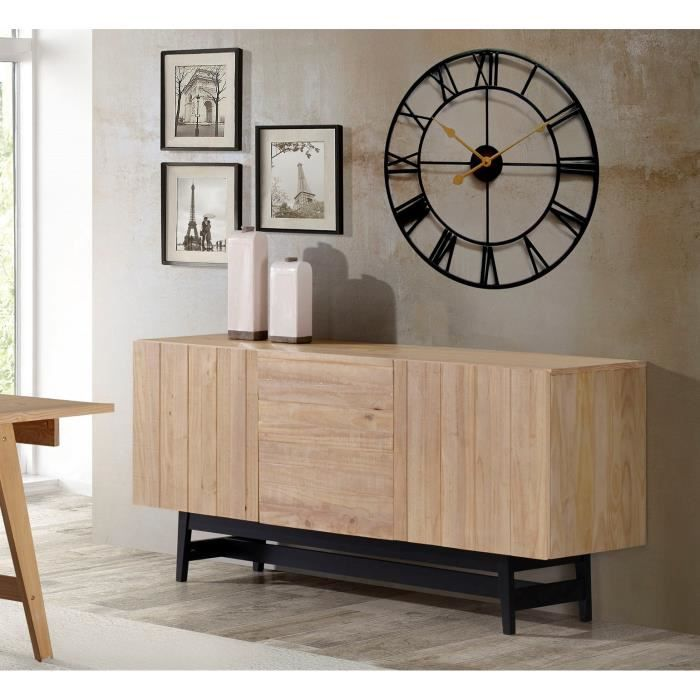 studio bahut industriel en bois pin massif vernis et. Black Bedroom Furniture Sets. Home Design Ideas
