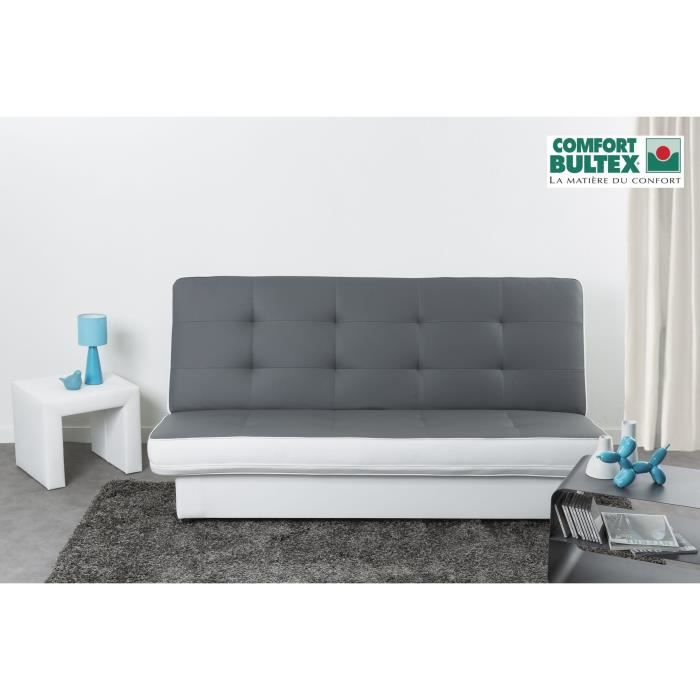 posh banquette clic clac convertible simili 3 places 190x101x92 cm gris et blanc achat. Black Bedroom Furniture Sets. Home Design Ideas