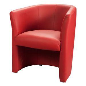 FAUTEUIL BAYA Fauteuil cabriolet - Simili rouge - L 65 x P