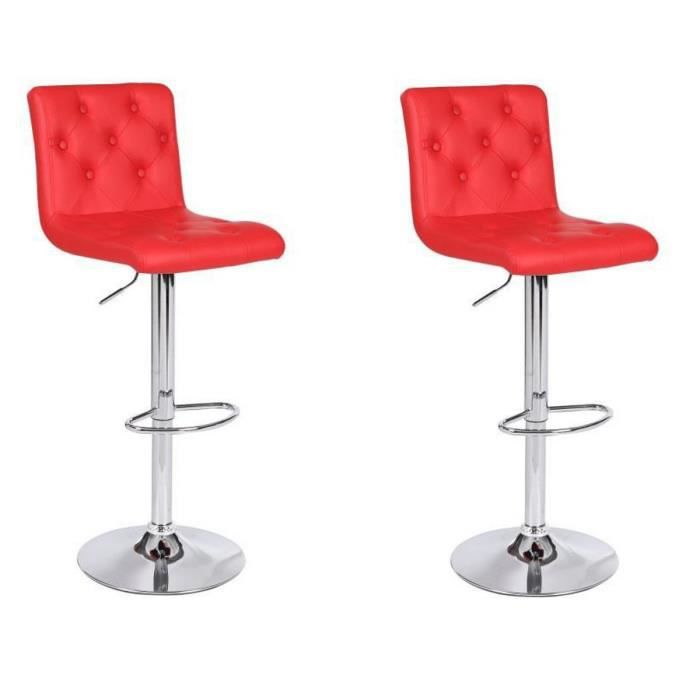 Lot de 2 tabourets de bar chester rouge pivotant et r glable en hauteur d - Tabourets de bar rouge ...