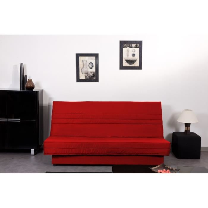 ell banquette clic clac tissu 3 places 192x89x90 cm rouge achat vente clic clac structure. Black Bedroom Furniture Sets. Home Design Ideas