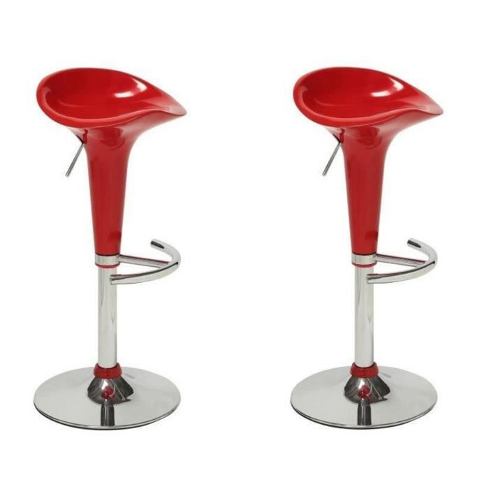 TABOURET DE BAR POP Lot de 2 tabourets de bar rouge - Contemporain