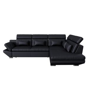 GALAXY Canapé d angle droit convertible 5 places - Simili noir satiné -  Contemporain - 2430d1faf713