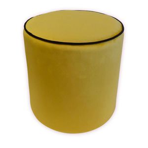 POUF - POIRE Pouf rond velours William 35 x 35 cm - Jaune mouta
