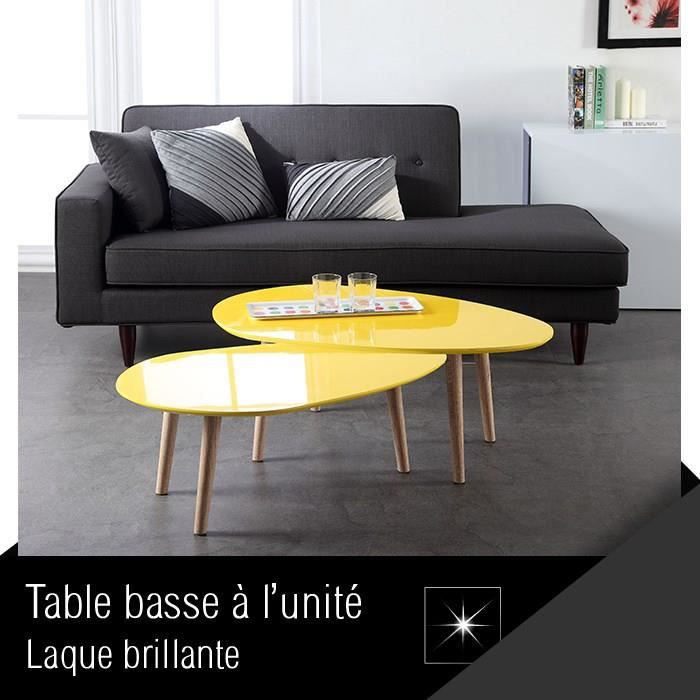table basse galet 88cm laqu e jaune salon salle manger bon prix moncornerdeco. Black Bedroom Furniture Sets. Home Design Ideas