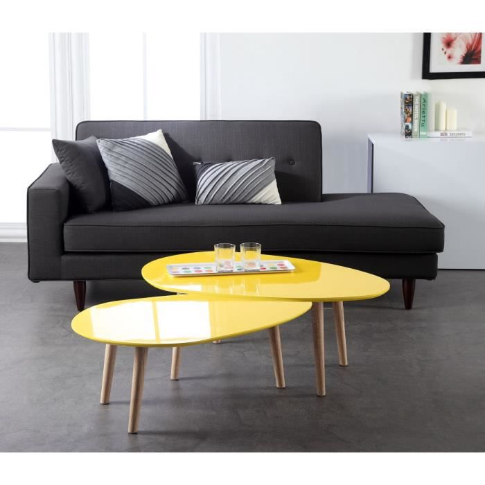 galet table basse 98 cm laqu e jaune achat vente table basse galet table basse jaune mdf. Black Bedroom Furniture Sets. Home Design Ideas