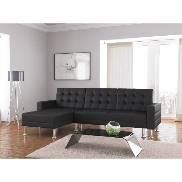 Baltimore canap convertible lit angle r versible 3 places simili noir acha - Densite assise canape ...