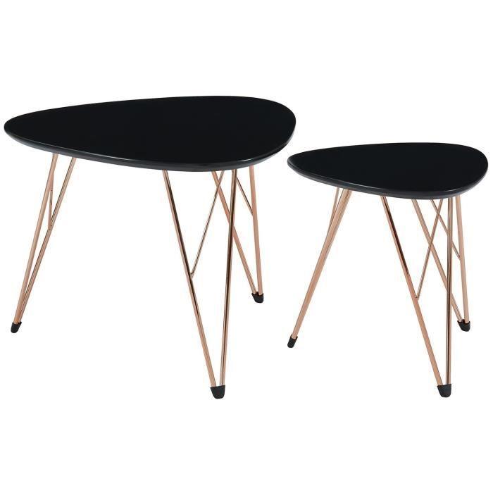 Sixties 2 Tables Basses Gigognes Vintage Mdf Noir Laque Mat Avec