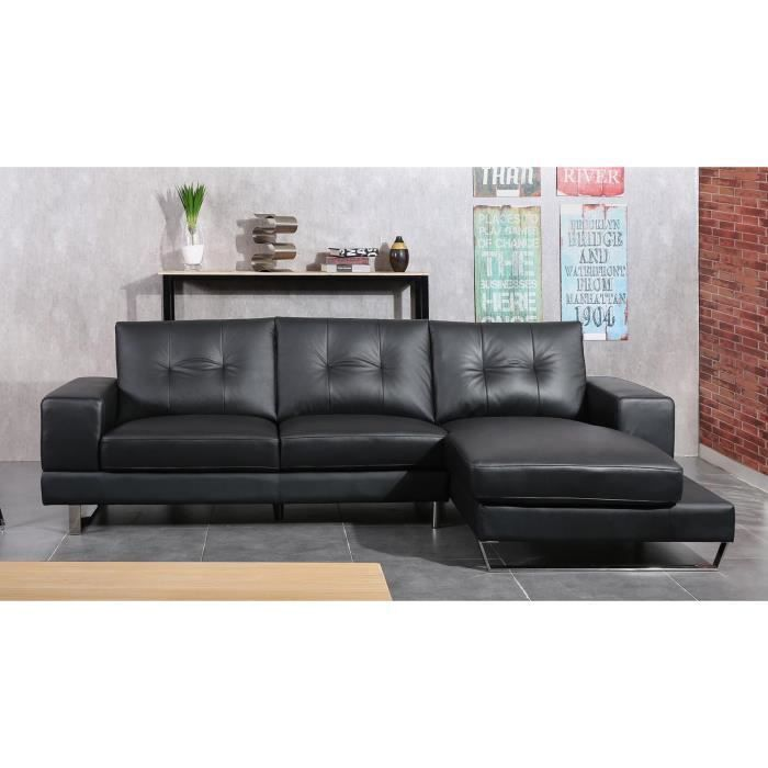 sixty canap angle droit 3 places cuir noir achat vente canap sofa divan pieds chrom s. Black Bedroom Furniture Sets. Home Design Ideas