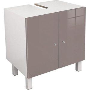MEUBLE VASQUE - PLAN CORAIL Meuble sous-lavabo L 60 cm - Taupe brillant
