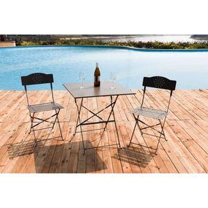 SALON DE JARDIN  FINLANDEK - Set bistrot table 70x70 cm + 2 chaises