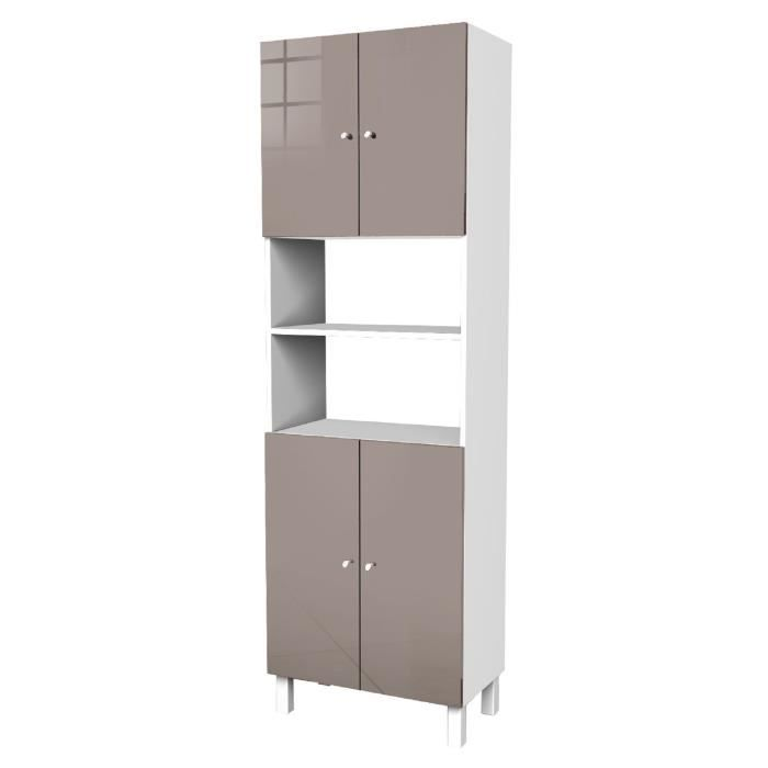 corail armoire de salle de bain l 60 cm taupe brillant achat vente colonne armoire sdb. Black Bedroom Furniture Sets. Home Design Ideas