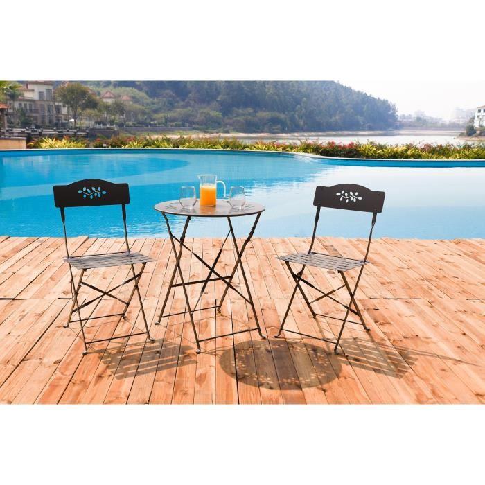 Ensemble table et chaise de jardin FINLANDEK - Set bistrot rond motif 60 cm TAUPE - H
