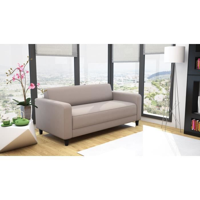 firr canap droit convertible lit 3 places tissu taupe achat vente canap sofa divan. Black Bedroom Furniture Sets. Home Design Ideas