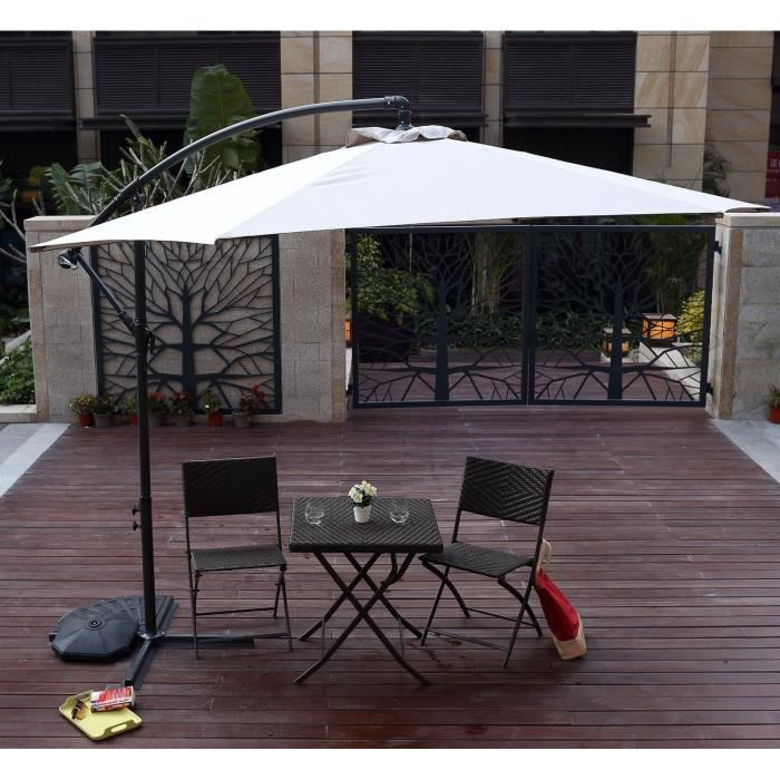 finlandek parasol excentr en aluminium 3m taupe achat vente parasol parasol excentr 3m. Black Bedroom Furniture Sets. Home Design Ideas