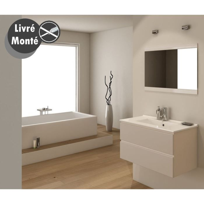 OSLO Salle de bain pl¨te simple vasque 80 cm Taupe brillant