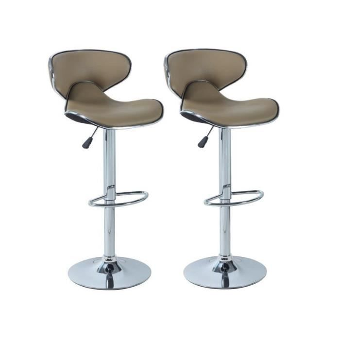 York lot de 2 tabourets de bar taupe achat vente - Tabouret de bar cdiscount ...