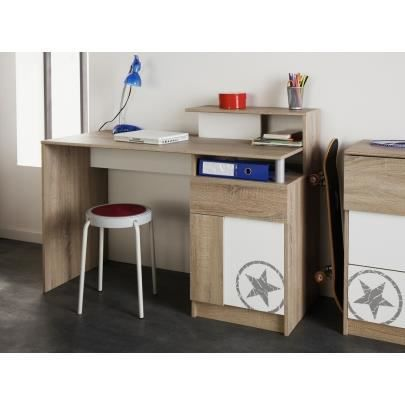college bureau l123 cm d cor ch ne et blanc achat vente bureau college bureau l123 cm caisse. Black Bedroom Furniture Sets. Home Design Ideas