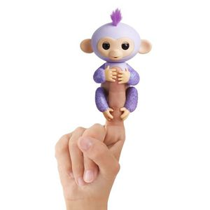 ROBOT - ANIMAL ANIMÉ FINGERLINGS Bébé Singe Ouistiti Pailleté - Mauve