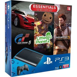 CONSOLE PS3 PS3 12GO+GRAN TURISMO 5+UNCHARTED+LITTLEBIGPLANET