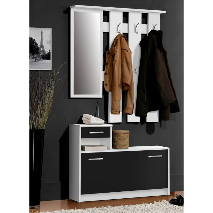 foxi vestiaire penderie noir blanc 97x180 cm achat vente meuble d 39 entr e foxi vestiaire. Black Bedroom Furniture Sets. Home Design Ideas