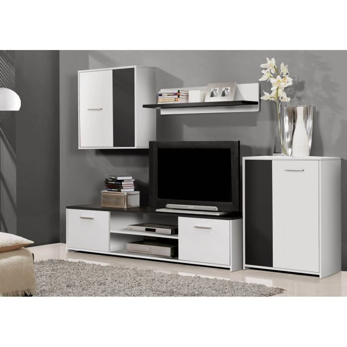 paco meuble tv mural 220 cm blanc noir achat vente salon complet paco meuble tv mural bois. Black Bedroom Furniture Sets. Home Design Ideas