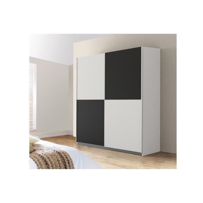 mezzo armoire 170 3 x 190 x 61 cm blanc noir achat. Black Bedroom Furniture Sets. Home Design Ideas