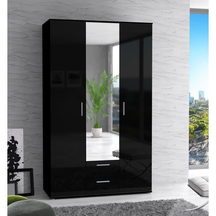 finlandek armoire de chambre selke 121 cm noir brillant. Black Bedroom Furniture Sets. Home Design Ideas