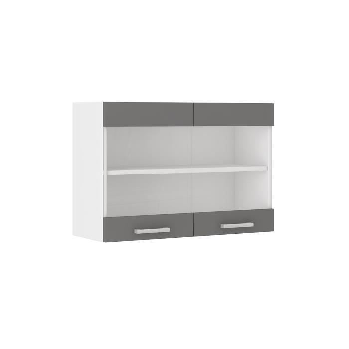 ultra meuble haut de cuisine 80 cm gris achat vente. Black Bedroom Furniture Sets. Home Design Ideas