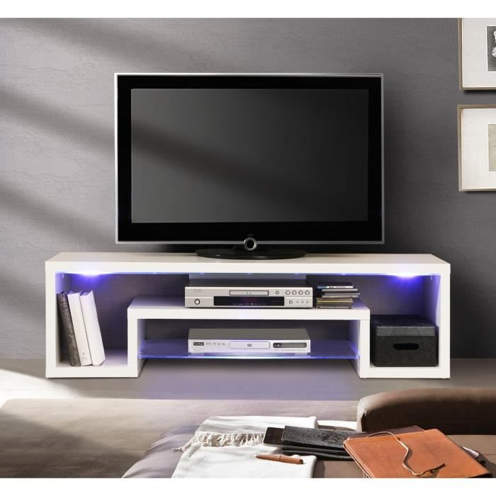 Cara meuble tv blanc brillant et led 137cm achat vente for Meuble tv led
